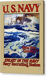 Enlist In The Navy Acrylic Print by War Is Hell Store