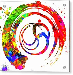 Enso Colorful Paint Circle Acrylic Print by Dan Sproul