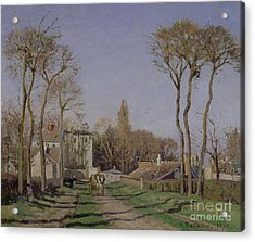 Entrance To The Village Of Voisins Acrylic Print by Camille Pissarro