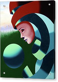 Eos - Abstract Mask Oil Painting With Sphere By Northern California Artist Mark Webster  Acrylic Print by Mark Webster