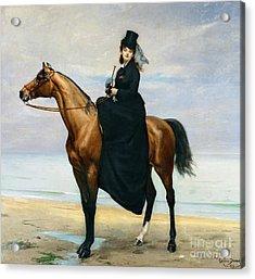 Equestrian Portrait Of Mademoiselle Croizette Acrylic Print by Charles Emile Auguste Carolus Duran