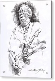 Eric Clapton Blue Acrylic Print by David Lloyd Glover