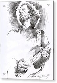 Eric Clapton Sustains Acrylic Print by David Lloyd Glover
