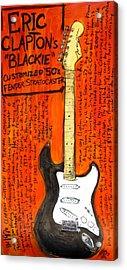 Eric Claptons Stratocaster Blackie Acrylic Print by Karl Haglund