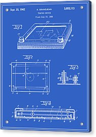 Etch-a-sketch Patent - Blueprint Acrylic Print by Finlay McNevin