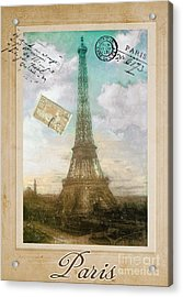 European Vacation Postcard Paris Acrylic Print by Mindy Sommers
