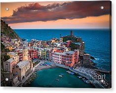 Evening Rolls Into Vernazza Acrylic Print by Inge Johnsson
