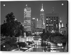 Evening Skyline Of Indianapolis Indiana Acrylic Print by Gregory Ballos