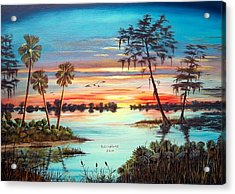 Everglades Sunset Acrylic Print by Riley Geddings