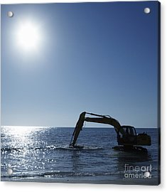 Excavator Digging In The Ocean Acrylic Print by Skip Nall