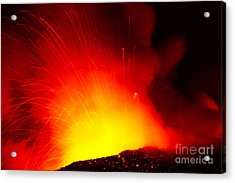 Exploding Lava At Night Acrylic Print by Peter French - Printscapes