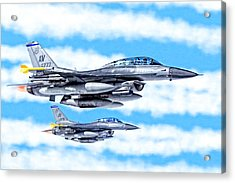 F-16 Fighting Falcons In Flight Acrylic Print by Mark E Tisdale