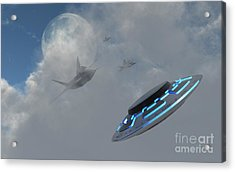 F-22 Stealth Fighter Jets On The Trail Acrylic Print by Mark Stevenson