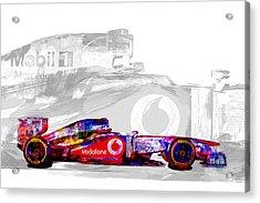 F1 Race Car Digital Painting Acrylic Print by David Haskett