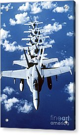 Fa-18c Hornet Aircraft Fly In Formation Acrylic Print by Stocktrek Images