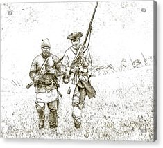 Face Of Danger Soldier Sketch Acrylic Print by Randy Steele