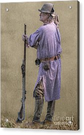 Faces Of The French And Indian War Colonial Milita  Acrylic Print by Randy Steele