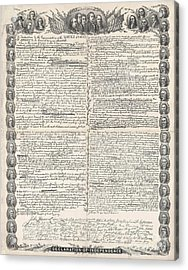 Facsimile Of The Original Draft Of The Declaration Of Independence Acrylic Print by American School