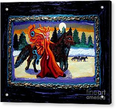 Faerie And Wolf Acrylic Print by Genevieve Esson