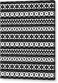 Fair Isle Black And White Acrylic Print by Rachel Follett