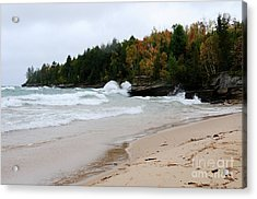 Fall Color On Au Train Bay Acrylic Print by Sandra Updyke