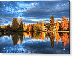 Fall Colors On Mirror Pond Acrylic Print by John Melton
