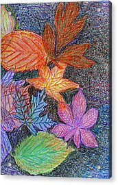 Fall Leave Collage Acrylic Print by Cassandra Donnelly