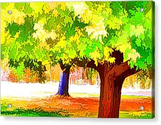 Fall Leaves Trees 1 Acrylic Print by Lanjee Chee