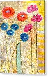 Falling For You- Floral Art By Linda Woods Acrylic Print by Linda Woods