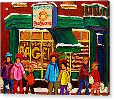Family  Fun At St. Viateur Bagel Acrylic Print by Carole Spandau