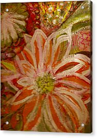 Fantasia With Orange And White Acrylic Print by Anne-Elizabeth Whiteway