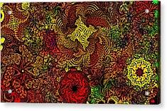 Fantasy Flowers Woodcut Acrylic Print by David Lane