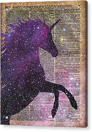 Fantasy Unicorn In The Space Acrylic Print by Jacob Kuch