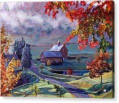 Farm In The Dell Acrylic Print by David Lloyd Glover