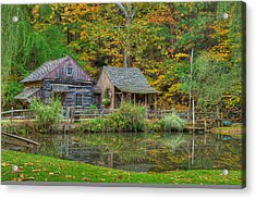 Farm In Woods Acrylic Print by William Jobes