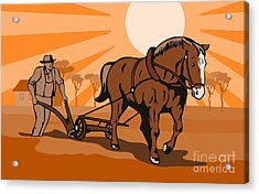 Farmer Plowing Field Acrylic Print by Aloysius Patrimonio