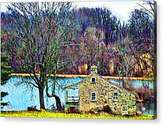 Farmhouse By The Lake Acrylic Print by Bill Cannon