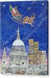 Father Christmas Flying Over London Acrylic Print by Catherine Bradbury