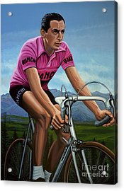 Fausto Coppi Painting Acrylic Print by Paul Meijering
