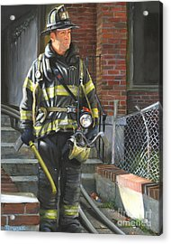 Fdny Squad 41 Firefighter Acrylic Print by Paul Walsh