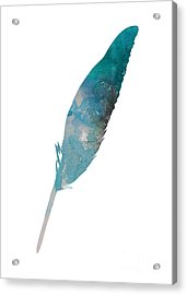 Feather Silhouette Blue Poster Acrylic Print by Joanna Szmerdt