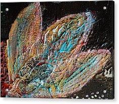 Feathery Leaves In Fantasy Blues Acrylic Print by Anne-Elizabeth Whiteway