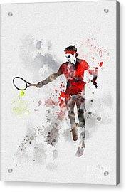 Federer Acrylic Print by Rebecca Jenkins