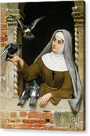 Feeding The Pigeons Acrylic Print by Eugen von Blaas