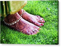 Feet With Mehndi On Grass Acrylic Print by Athul Krishnan (www.athul.in)
