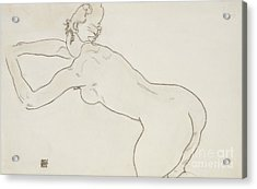 Female Nude Kneeling And Bending Forward To The Left Acrylic Print by Egon Schiele
