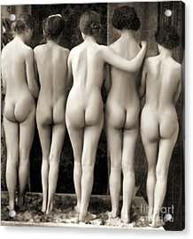 Female Nude Quintet Acrylic Print by French School