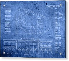 Fenway Park Blueprints Home Of Baseball Team Boston Red Sox On Worn Parchment Acrylic Print by Design Turnpike