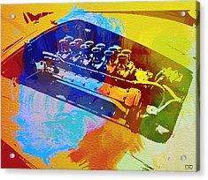 Ferrari Engine Watercolor Acrylic Print by Naxart Studio