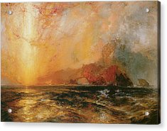 Fiercely The Red Sun Descending Burned His Way Along The Heavens Acrylic Print by Thomas Moran